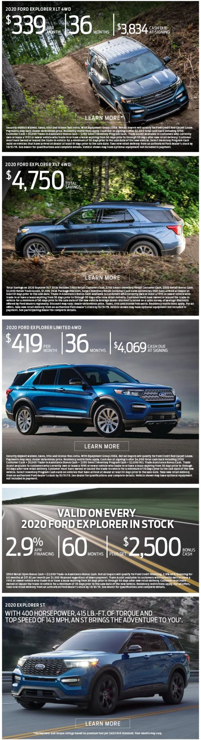 2020 Ford Explorer Offers