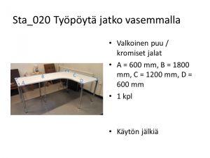 Työpöytä, jatko vasemmalla