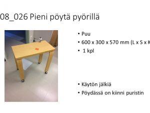 Pieni pöytä pyörillä