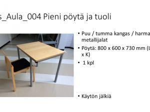 Pieni pöytä ja tuoli
