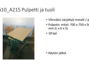 Pulpetti ja tuoli (18 kpl)