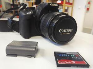 Canon EOS 350D + 18-55mm objektiivi ja laturi