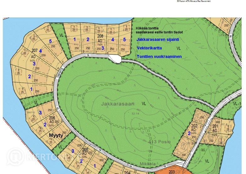 Omakotitontti Jakkarasaaren alueelta, nro 2073