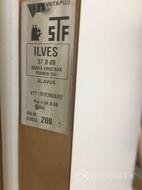 Valkoinen ääntä eristävä ovi 80 x 200, karmeineen, Ilves