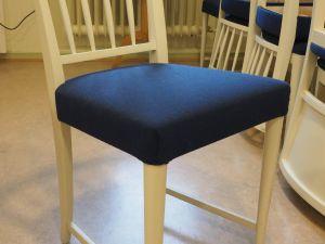 Tuoli, puu/kangas, valkoinen/sininen 8 kpl (1)
