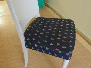 Tuoli, puu/kangas, valkoinen/tumman sininen 2 kpl (3)