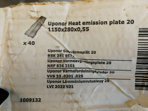 Lämmönluovutuslevy 20 1150 x 280 mm Uponor-lattialämmitys