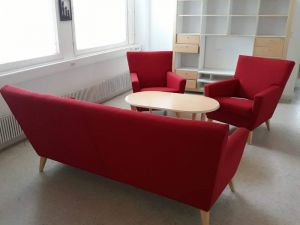 Punainen sohvakalusto ja hylly
