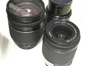 Kolme Canon objektiivia