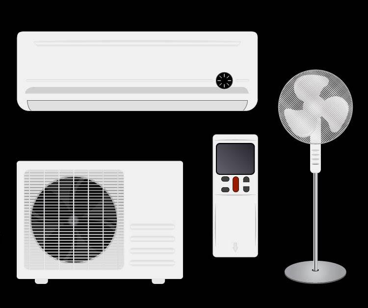 Sisäilma - Ilmastointilaite ja tuulettimia.
