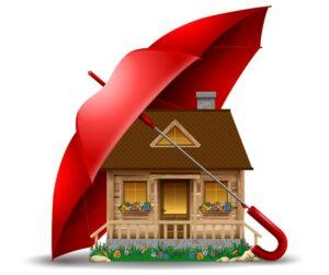 Asumisturvallisuus - talo sateenvarjon suojassa.