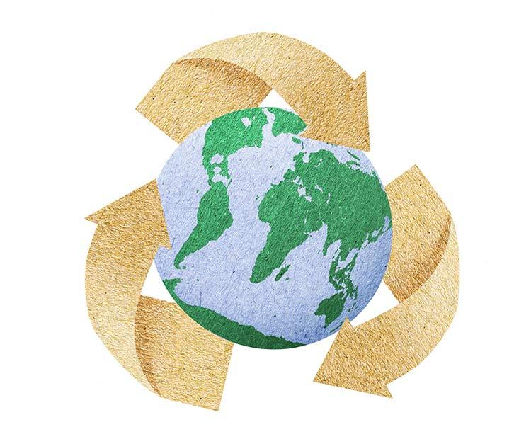 Kierrätys säästää maapalloa.