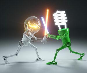 Hehkulampun ja led-lampun välinen taistelu.