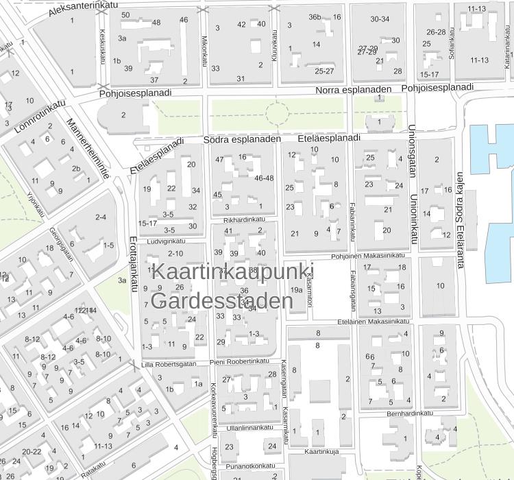 Kaartinkaupungin kartta