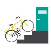 Pyörä ja rappuset. Pääseekö pyörävasrastoon helposti?
