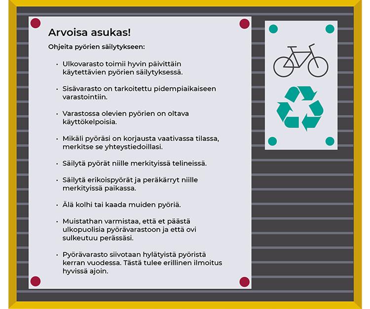 Pyöräpysäköinnin ja ulkovälinevaraston käyttöohjeet.