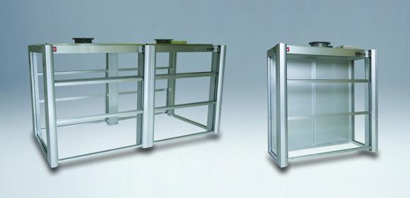 アルミ製卓上フード(ノックダウン式/前面ガラス2枚連動式)FHJ7-N360D