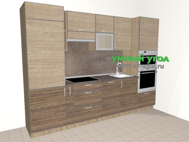 Прямая кухня с пеналом для духовки