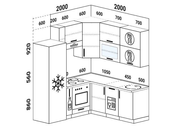 Планировка угловой кухни 5,8 м², 200 на 200 см