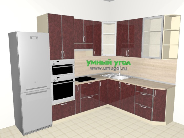 Угловая кухня с пеналом для семьи с детьми