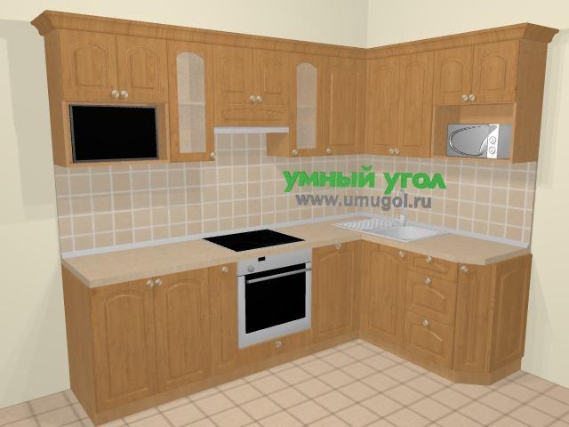 Угловая кухня МДФ матовый в стиле кантри 6,0 м², 255 на 155 см, Ольха: верхние модули 72 см, корзина-бутылочница, встроенный духовой шкаф, посудомоечная машина, модуль под свч