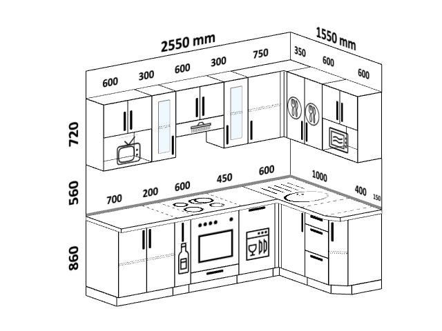 Планировка угловой кухни 6,0 м², 255 на 155 см