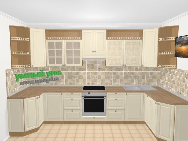 П-образная кухня из массива дерева в стиле кантри 5,8 м², 115, 360 на 160 см, Бежевые оттенки: верхние модули 92 см, встроенный духовой шкаф, посудомоечная машина