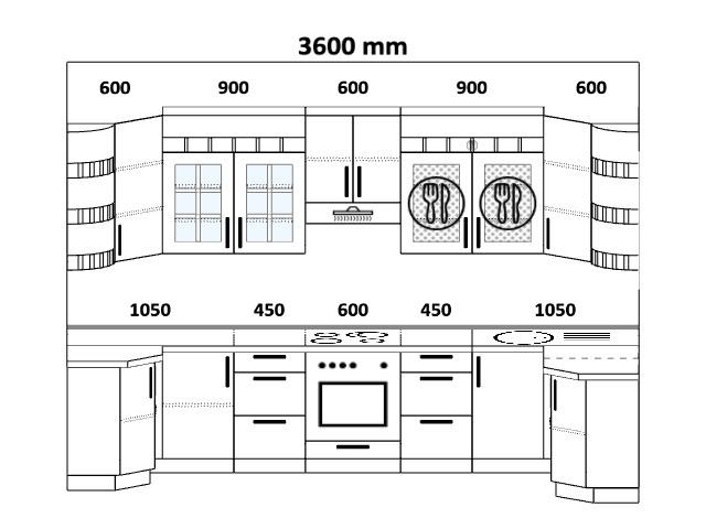 Планировка п-образной кухни 5,8 м², 115, 360 на 160 см