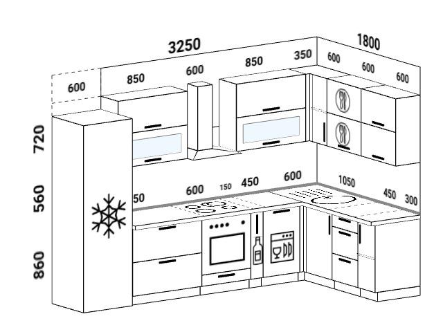 Планировка угловой кухни 8,3 м², 325 на 180 см