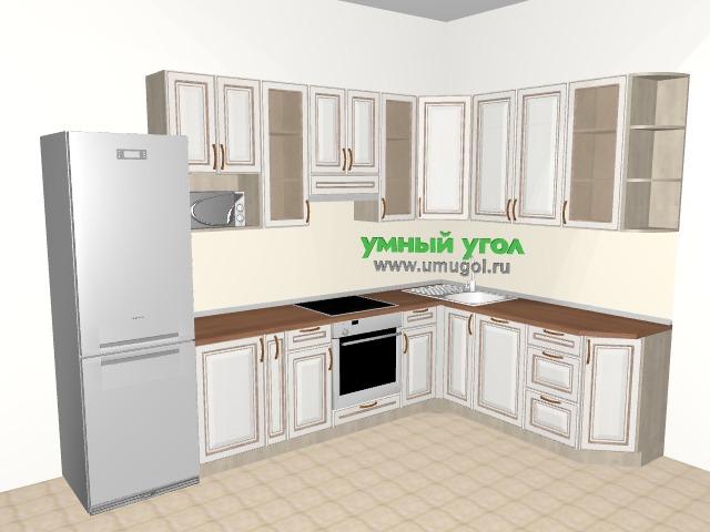 Кухня в трёхкомнатную квартиру для семьи с детьми