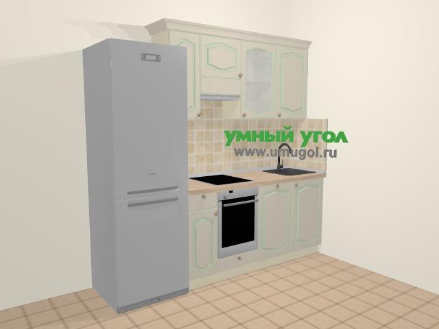 Прямая кухня МДФ патина в стиле прованс 5,0 м², 225 см, Керамик: верхние модули 72 см, холодильник, встроенный духовой шкаф, посудомоечная машина