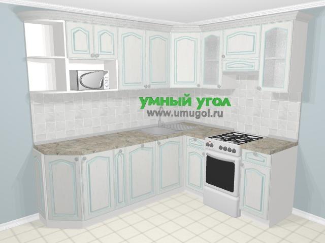 Угловая кухня МДФ патина в стиле прованс 6,2 м², 230 на 180 см (зеркальный проект), Лиственница белая: верхние модули 72 см, корзина-бутылочница, посудомоечная машина, отдельно стоящая плита, модуль под свч
