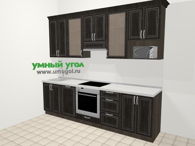Прямая кухня МДФ патина в классическом стиле 5,0 м², 270 см (зеркальный проект), Венге: верхние модули 92 см, посудомоечная машина, встроенный духовой шкаф, модуль под свч