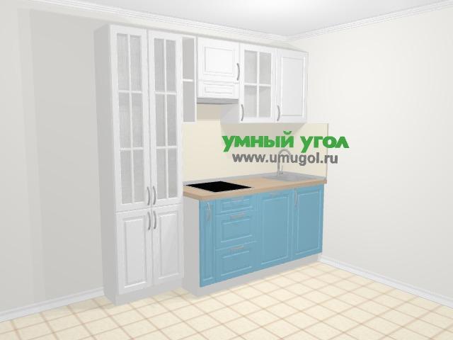Прямая кухня МДФ матовый в классическом стиле 5,0 м², 210 см, Вишня: верхние модули 72 см, корзина-бутылочница, посудомоечная машина