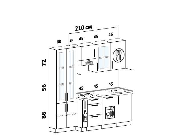 Планировка прямой кухни 5,0 м², 210 см