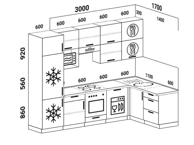 Планировка угловой кухни 6,3 м², 300 на 170 см