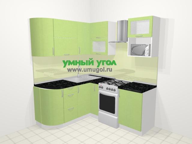 Угловая кухня МДФ металлик в современном стиле 5,0 м², 160 на 185 см (зеркальный проект), Салатовый металлик: верхние модули 72 см, корзина-бутылочница, отдельно стоящая плита, верхний модуль под свч