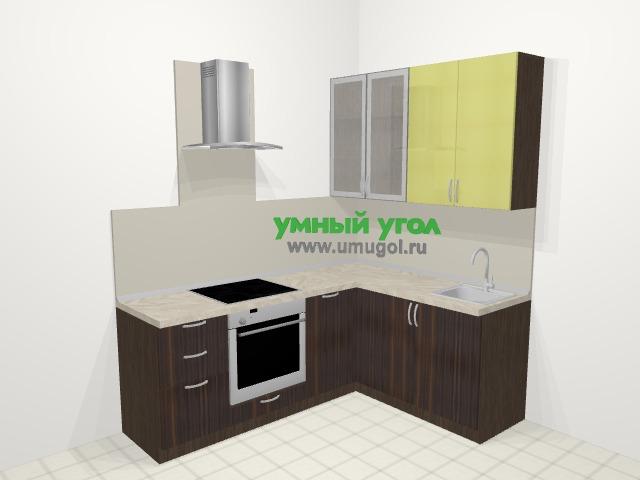 Кухни пластиковые угловые в современном стиле 5,8 м², 210 на 160 см, Желтый Галлион глянец / Дерево Мокка: верхние модули 92 см, встроенный духовой шкаф, посудомоечная машина