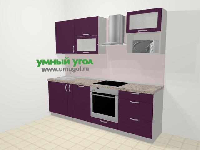 Прямая кухня МДФ глянец в современном стиле 5,0 м², 240 см (зеркальный проект), Баклажан: верхние модули 72 см, корзина-бутылочница, посудомоечная машина, встроенный духовой шкаф, верхний модуль под свч