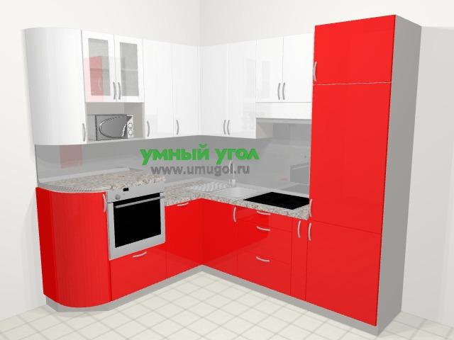Угловая кухня МДФ глянец в современном стиле 5,8 м², 195 на 240 см (зеркальный проект), Красный: верхние модули 92 см, посудомоечная машина, корзина-бутылочница, верхний модуль под свч