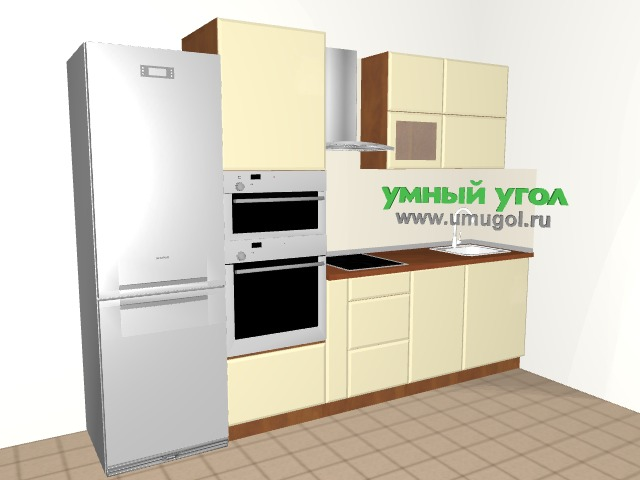 Прямая кухня с пеналом для семьи с ребенком