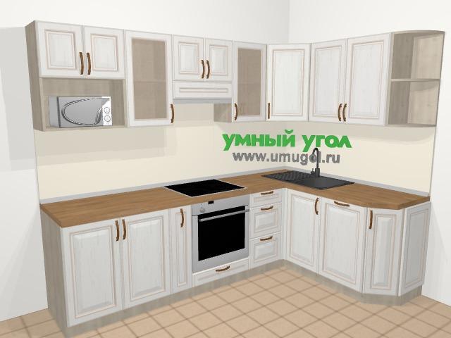 Угловая кухня МДФ патина в классическом стиле 6,0 м², 260 на 165 см, Лиственница белая: верхние модули 72 см, корзина-бутылочница, встроенный духовой шкаф, посудомоечная машина, модуль под свч
