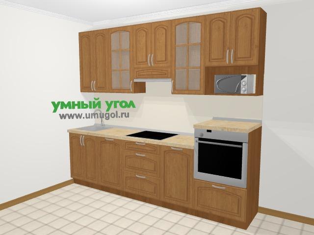 Прямая кухня МДФ патина в классическом стиле 5,0 м², 270 см (зеркальный проект), Ольха: верхние модули 92 см, посудомоечная машина, модуль под свч