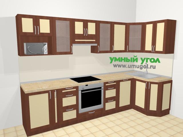 Угловая кухня из рамочного МДФ 6,3 м², 305 на 120 см, Вишня темная / Крем: верхние модули 72 см, корзина-бутылочница, встроенный духовой шкаф, посудомоечная машина, модуль под свч
