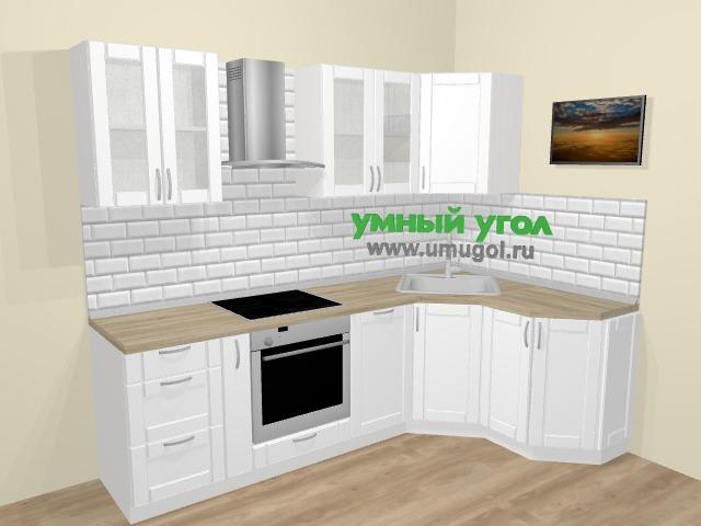 Угловая кухня МДФ матовый  в скандинавском стиле 5,0 м², 250 на 145 см, Белый: верхние модули 72 см, корзина-бутылочница, встроенный духовой шкаф, посудомоечная машина
