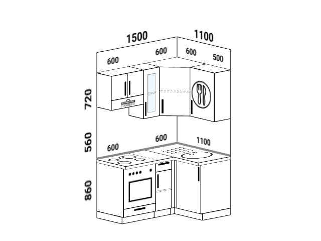 Планировка угловой кухни 5,8 м², 150 на 110 см