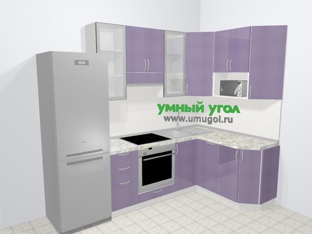 Кухни пластиковые угловые в современном стиле 5,8 м², 260 на 150 см, Сиреневый глянец: верхние модули 92 см, холодильник, встроенный духовой шкаф, посудомоечная машина, модуль под свч