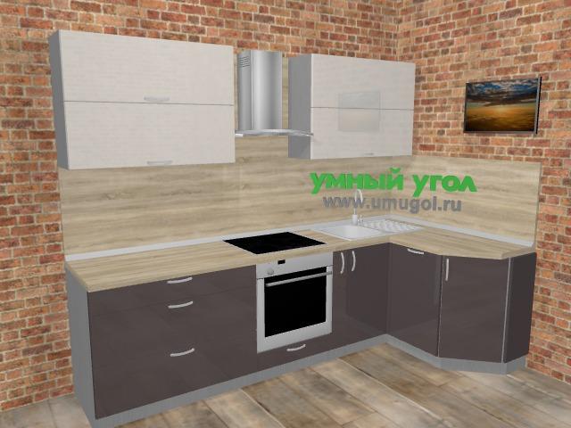 Угловая кухня МДФ глянец в стиле лофт 5,8 м², 270 на 135 см, Шоколад: верхние модули 72 см, встроенный духовой шкаф, корзина-бутылочница, посудомоечная машина