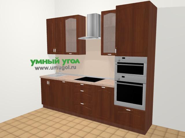 Прямая кухня МДФ матовый в классическом стиле 5,0 м², 270 см (зеркальный проект), Вишня темная: верхние модули 92 см, посудомоечная машина
