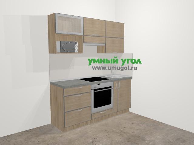 Кухни из пластика в стиле лофт 5,0 м², 180 см, Чибли бежевый: верхние модули 72 см, встроенный духовой шкаф, корзина-бутылочница, верхний модуль под свч